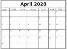 April 2028 Print Free Calendar