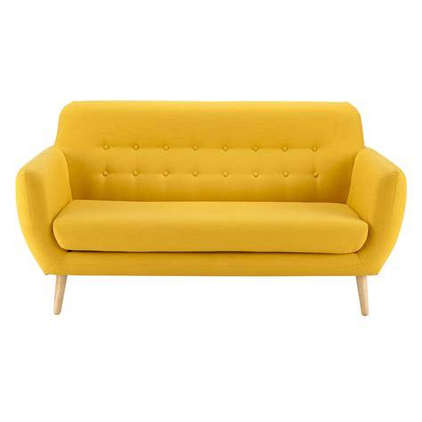 2 3 seater fabric vintage sofa in yellow iceberg maisons du monde
