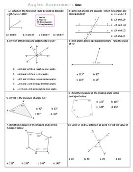 Angle Relationships Quiz With Answer Key By Math Maker Tpt