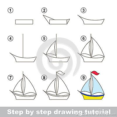 How To Draw A Cartoon Boat Step By Step by Drawing Tutorial How To Draw A Boat Stock Vector Image