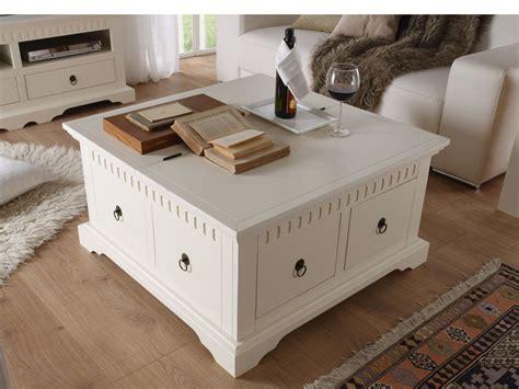 table basse coffre antonio en pin massif blanc 90x90 laqu 233 et mdf avec 2 tiroirs ebay