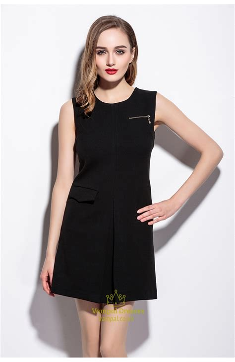 Sleeveless Dress by Women S Casual Simple Black Short Sleeveless A Line Dress