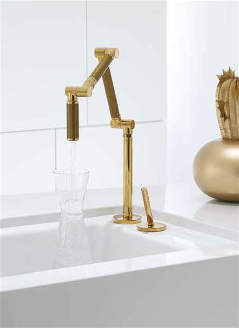 kohler k 6227 c13 pgd karbon articulating deck mount kitchen faucet with gold vibrant