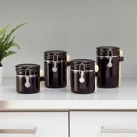 Home Basics 4piece Ceramic Canister Set With Spoons