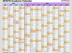 Academic calendars 20182019 free printable Excel templates