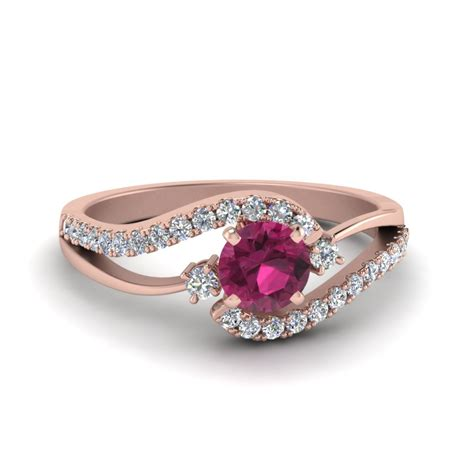 Swirl 3 Stone Pink Sapphire Engagement Ring In 14k Rose