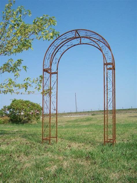 Wrought Iron Round Top Arbor Trellis  Metal Garden Arch