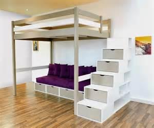 lit mezzanine design bi couleur taupe blanc escalier cube avec sa banquette cube futon et