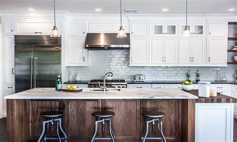 Kitchen With White Marble Like Counters  Transitional