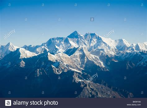 aerial photograph of the himalaya mountain range with mount everest stock photo royalty free