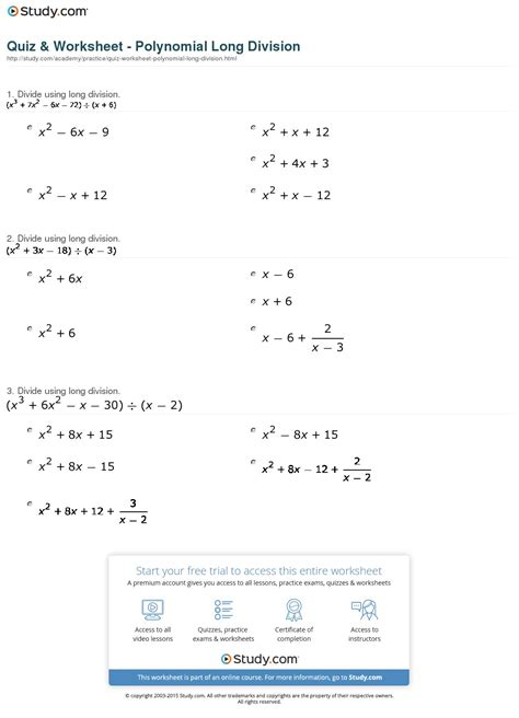 Quiz & Worksheet  Polynomial Long Division Studycom
