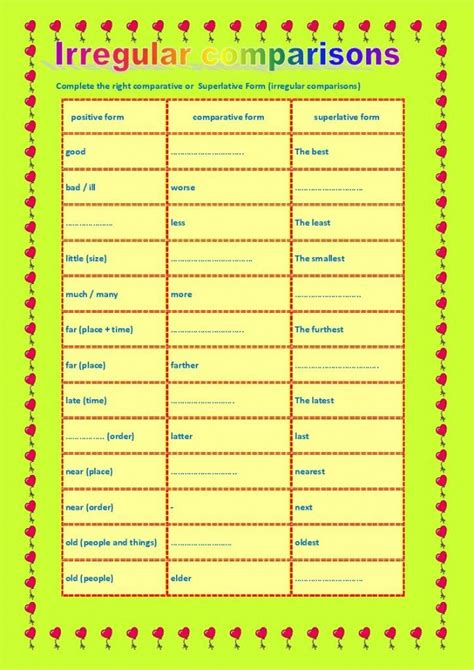 Comparative Forms Irregular Adjectives  New Spotlight On English  Comparative Forms Of