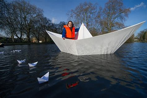 Origami Super Boat by Origami Boat Made From Paper Carries Adult Across Lake