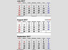 August 2017 Calendars for Word, Excel & PDF
