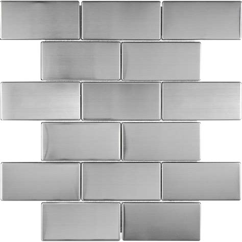 shop stainless steel subway mosaic metal wall tile common 12 in x 12 in actual 9 76 in x 11