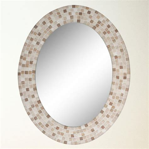 travertine mosaic oval mirror 8668 framed mirrors oval mirror and bathroom