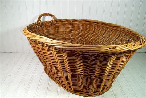 Vintage Large Oval Wicker Laundry Basket HandWoven One