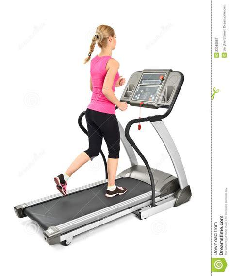 femme faisant des exercices sur le tapis roulant image stock image 23080087
