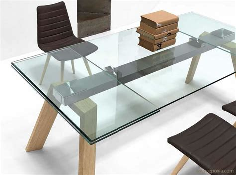 beau table verre avec rallonges design et table verre et bois inspirations photo table verre