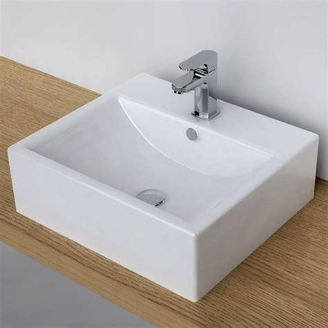 vasque 224 poser rectangulaire 51x45 cm plage robinet c 233 ramique
