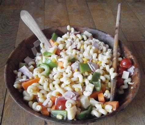 from my kitchen with pasta salad with vegetables