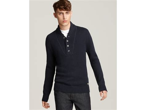 Converse Black Canvas Long Sleeve Shawl Collar Sweater In Black For Men