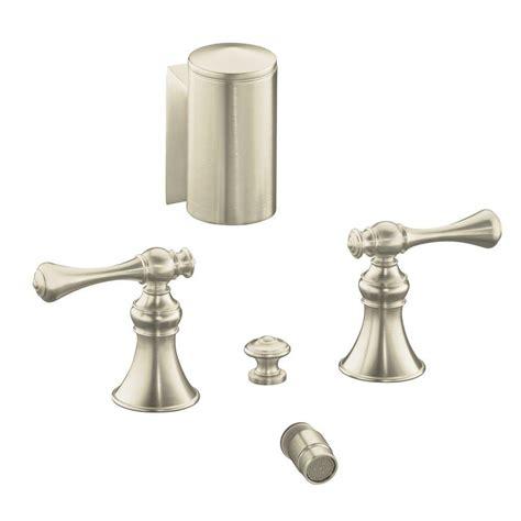 kohler revival 2 handle bidet faucet in vibrant brushed nickel with below the swivel spray k