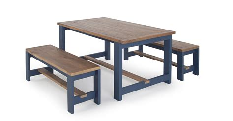 Bala Table And Bench Set, Solid Wood And Blue Madecom