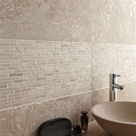 travertin sol et mur beige effet travertin l 40 6 x l 61 cm leroy merlin