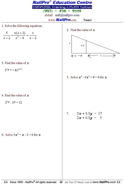 12th Grade Math Worksheets Free Worksheets Library