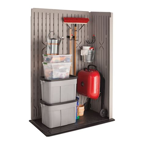 rubbermaid vertical storage shed shelves lowes buildings sheds free octagon shaped picnic table