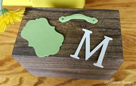 monogrammed recipe box americana decor chalky finish
