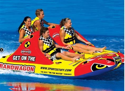 Pull Behind Boat Floats by Towable Water Tube 4 Person Inflatable Rider Raft Float