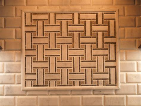 mosaic tile basket weave with beveled subway tile