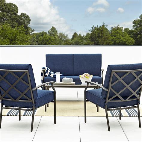 grand resort fairfax 4pc seating set blue olefin outdoor living patio furniture casual