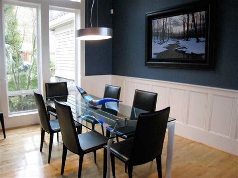 Navy Blue Dining Room Combine With White Paint Ideas