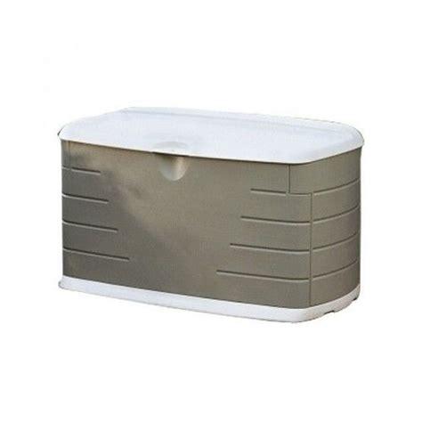 outdoor storage deck box 75 gallon rubbermaid chest lock