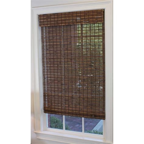 shop style selections 23 in w x 72 in l cocoa light filtering bamboo shade at