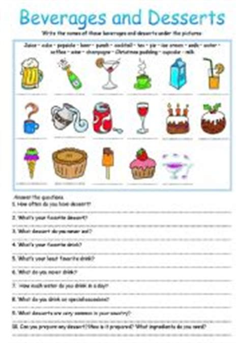 teaching worksheets desserts