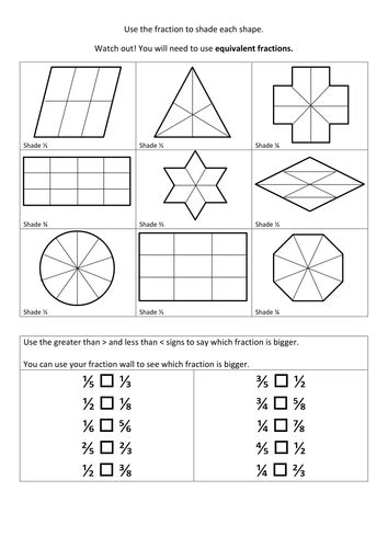 Equivalent Fractions Of Shapes By Helenfharvey  Teaching Resources Tes