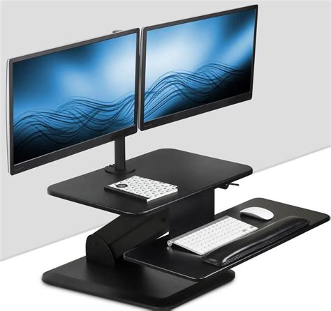 sit stand workstation standing desk converter with dual monitor mount combo