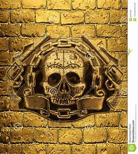 Gold Skull Wallpaper : skull golden guns and chain on a background of golden brick wal stock illustration image ~ Markanthonyermac.com Haus und Dekorationen