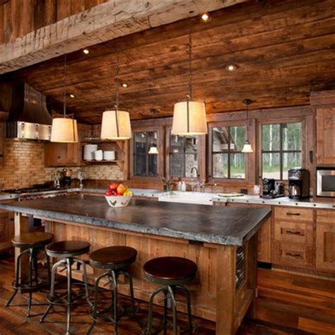 traditional kitchen log cabin design ideas pictures