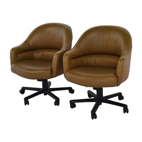 90% Off  Pair Of Brown Leather Office Chairs Chairs