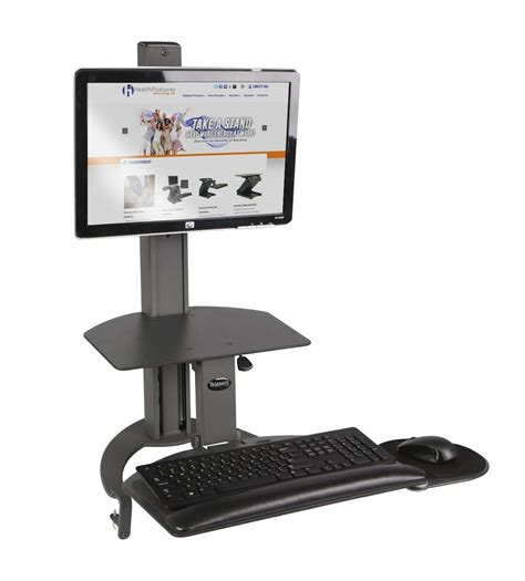taskmate go sit to stand desk w dual monitor arm