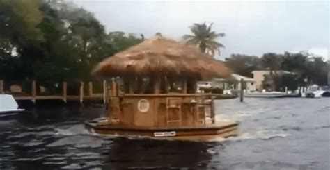 Tiki Party Boat Miami by Check Out This Tiki Hut Boat Seen Sailing In South