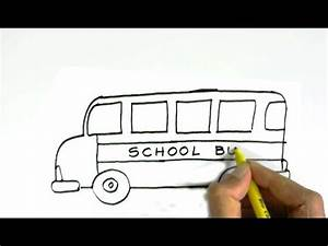 How to draw a school bus in easy steps for children, kids ...