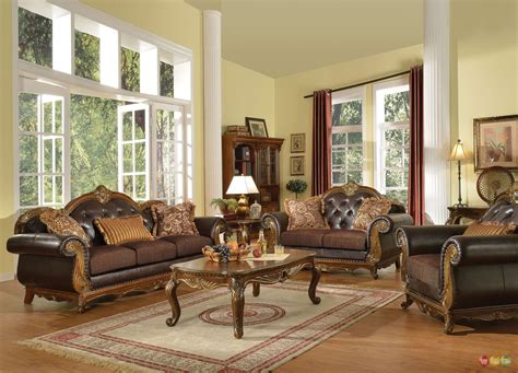 Queen Anne Living Room Sets : Dorothea Traditional Formal Living Room Sofa Set W/ Wood