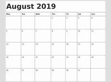 August 2019 Calendar Word calendar month printable