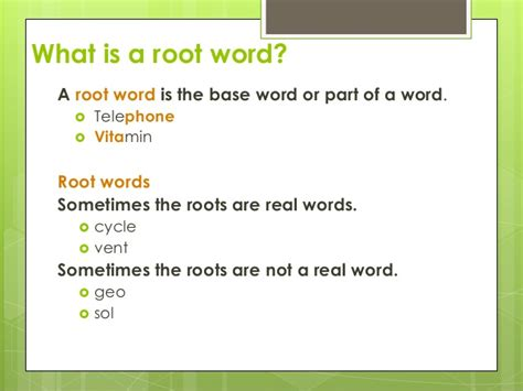 Root Words Prefixessuffixes